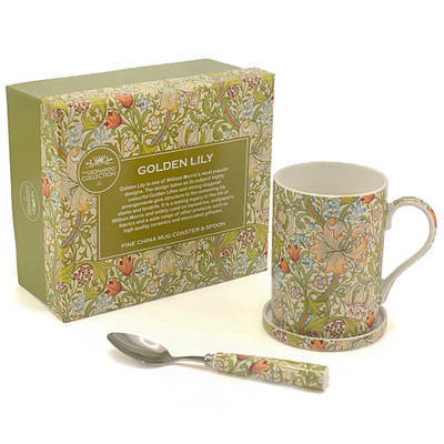 Mug con tapa y cuchara decorado Golden Lily