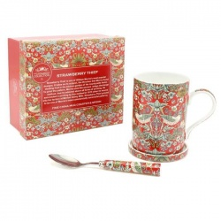 Mug con tapa y cuchara decorado Strawberry Thief